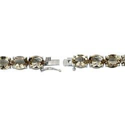 Glitzy Rocks Sterling Silver 33 TGW Smokey Quartz Bracelet