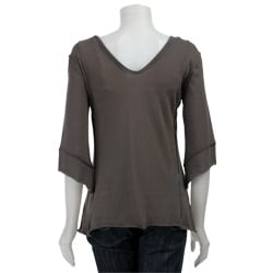 AtoZ Women's Asymmetrical V-neck Top