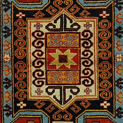 Indo Kazak Red/ Ivory Wool/ Cotton Rug (4'8 x 6'5)