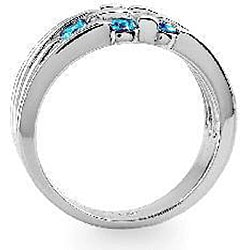 14k Gold 5/8ct TDW Blue Diamond Round-cut Ring (Size 7)