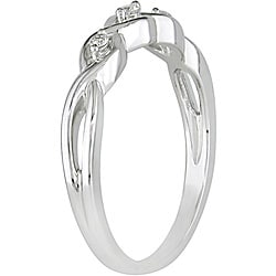 Miadora 10k White Gold Diamond Three-stone Twist Ring