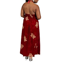 Long Hibiscus Burgundy Halter-style Dress (Indonesia)