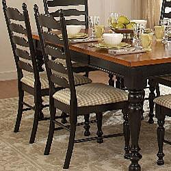 Country charm two tone 7 piece dining table set 12218090 for 2 tone dining room sets