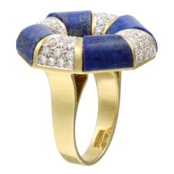 18k Gold Lapis and 1 1/4ct TDW Diamond Estate Ring (J, SI1) (Size 7)