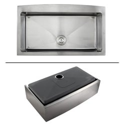 Kraus 36-inch Farmhouse Apron Single-bowl Stainless Steel Kitchen Sink
