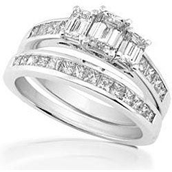 14k Gold 2ct TDW Emerald-cut Diamond Bridal Ring Set (H-I, SI-I)