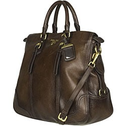 www prada hand bags com - Prada \u0026#39;Cervo Antik\u0026#39; Brown Leather Tote Bag - 12283152 - Overstock ...