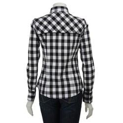 Yanuk women 39 s white black plaid shirt 12287985 for White and black flannel shirt womens