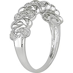 Miadora 10k White Gold 1/10ct TDW Diamond Anniversary Ring (H-I, I2-I3)
