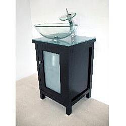 Modern Solid Wood Cabinet/ Round Glass Sink Bathroom Vanity