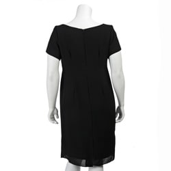 Le Bos Women's Plus Size Black Ponte Dress
