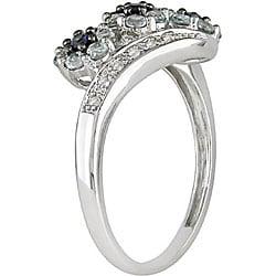 10k White Gold Blue Topaz, Sapphire and Diamond Flower Ring
