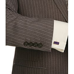 Ferrecci Men's 2-piece Pinstriped Grey 3-pocket Suit