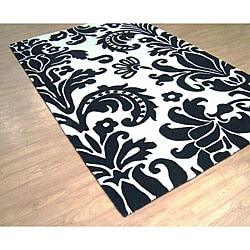 Alliyah Handmade Black New Zealand Blend Wool Rug (4 x 6)