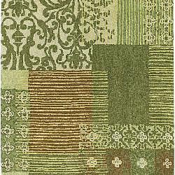 Hand-tufted Collage Green Wool Runner (2'6 x 8')