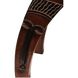 Wooden Hand-carved Classic Mask Accent Seat (Ghana)