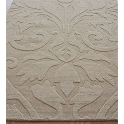 nuLOOM Handmade Neutrals and Textures Damask Beige Wool Rug (5' x 8')