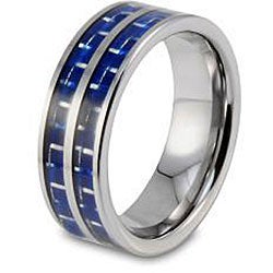 West Coast Jewelry Men's Tungsten Double Blue Carbon Fiber Inlay Band (8 mm)