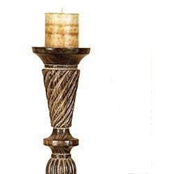 Handcrafted Carved Wood Pillar Candle Holders (Set of 3)