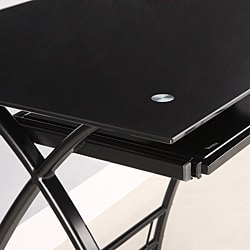 Black Glass L-shape Corner Computer Desk