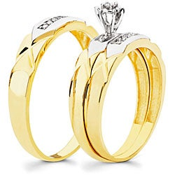 10k Gold 1/6ct TDW His and Her Wedding Ring Set (H-I, I1)