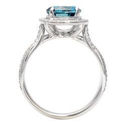 14k Gold 2 2/5ct TDW Blue Diamond Halo Ring (G-H, SI1-I1) (Size 7)