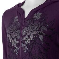 California Bloom Women's Purple Screenprint Hooded Jacket