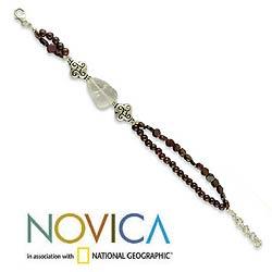 Sterling Silver Garnet and Quartz 'Fascination' Bracelet (India)