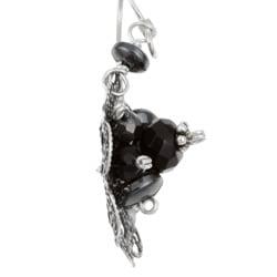 Sterling Silver Onyx and Hematite Filigree Flower Earrings