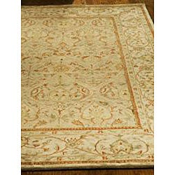 Handmade Mahal Light Brown/ Beige New Zealand Wool Rug (6' x 9')