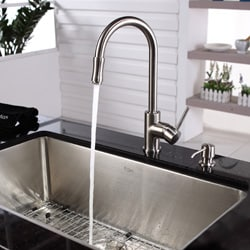 Kraus Single Lever Pull-out Sprayer Satin Nickel Kitchen Faucet