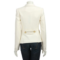 Women's Button-front Winter White Blazer