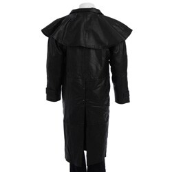 Dealer Leather Men's Black Leather Duster Coat