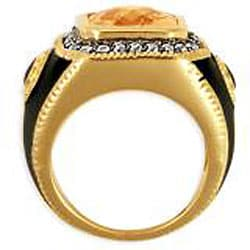 Simon Frank 14k Gold Overlay Men's CZ and Enamel Estate-style Ring