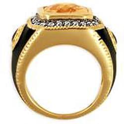 Simon Frank 14k Gold Overlay Men's CZ and Enamel Estate-style Ring