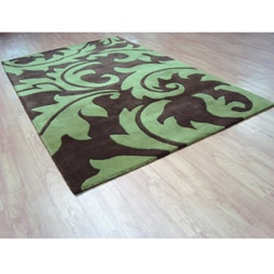 Hand-tufted Sabrina Green and Brown Wool Rug (5' x 8')