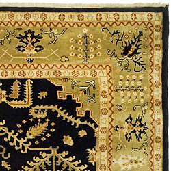 Indo Uzbek Hand-knotted Black/ Light Green Wool Rug (9'5 x 11'8)
