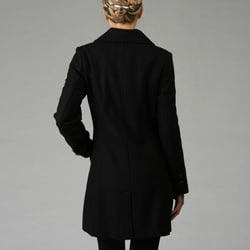 KC Collections Women's Single-breasted Wool Coat