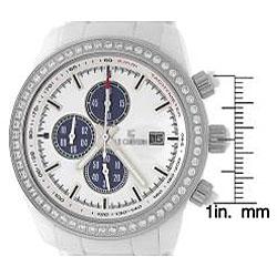 Le Chateau Men's 'Bello' Zirconia Silvertone White Ceramic Watch