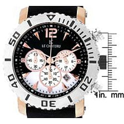 Le Chateau Cautiva Men's Goldplated Black and White Dial Chrono Watch