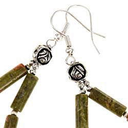 Silver Unakite Dangle Earrings (Thailand)