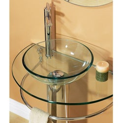 Kiliv Pedestal Glass Sink Set with Tower Bar