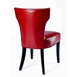 Matty Top-grain Red Leather Side Chairs (Set of 2)