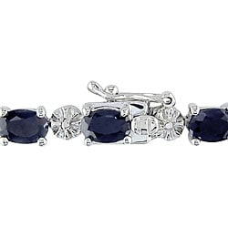 Miadora Sterling Silver Sapphire and Diamond Link Bracelet