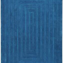 Hand-crafted Blue Geometric Lyan Wool Rug (8' x 11')