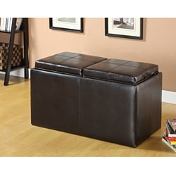 Furniture of America Espresso Storage Ottoman and Nesting Ottoman Set