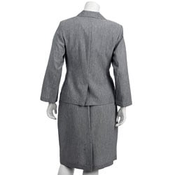 First Lady Women's Plus Size Grey 3-piece Skirt Suit
