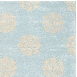 Safavieh Handmade Soho Medallion Light Blue New Zealand Wool Rug (5' x 8')