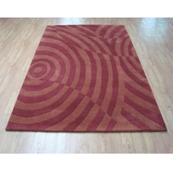 Hand-tufted Metro Rust Wool Rug (5' x 8')