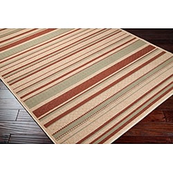 Cafe Beige Stripe Indoor/Outdoor Rug (7'6 x 10'9)